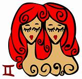 Zodiac signs, icons - gemini, Beauty Woman symbol