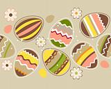 Seamless horizontal easter pattern with eggs