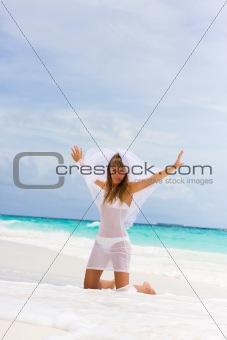 Bride on a tropical beach