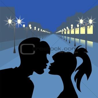vector evening meeting of lovers