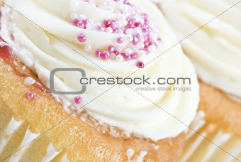 Close up macro of cupcakes with icing
