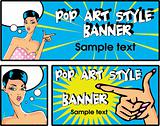 Pop art comic banners set 1 Vector illustration of  woman