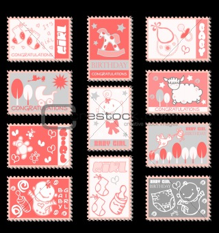 baby girl postage stamps  baby icons