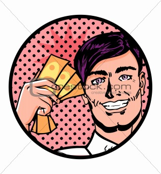 Business man with banknotes, financial background