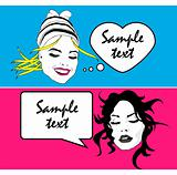 Girl Talk - Retro Clip Art Banners set