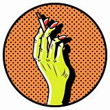 Hand with smoking cigarette. Close-up Popart Comic emblem