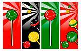 Pop Art comic style Banners set Lollipop Clipart Picture