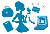 Online Girls shopping silhouette icons set vector