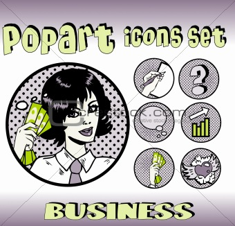 Business money top signs. vector pop art style icons set. woman