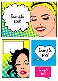 comic banners set Pop Art Vector Illustration of a Woman