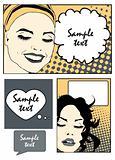 comic banners set Pop Art Vector Illustration of a Woman