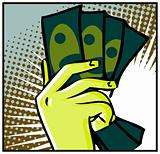 Hand with money isolated on flash pop art background