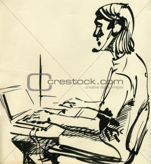 A boy playing on the computer