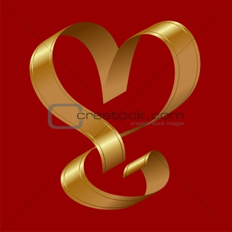 vector shiny gold ribbon in the shape of a heart on a red backgr