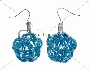 Pair of Teal Beaded Earrings