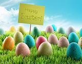 Colorful Easter eggs with sign in a field