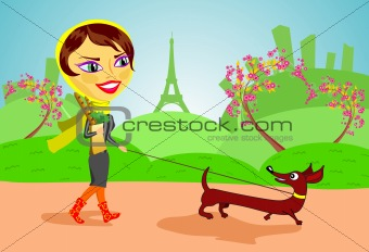 Girl with dog in Paris