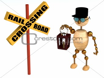 3d railroad crossing sign and wood man