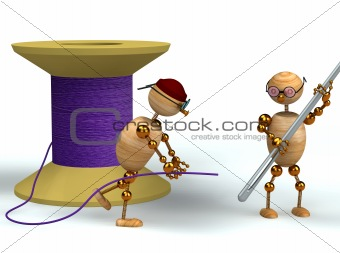 3d man and purple bobbin with needle