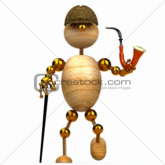 3d wood man as a detective