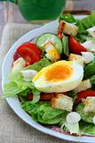 salad with fresh vegetables, tomatoes and eggs