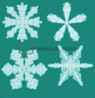 Alphabet Snowflakes ( set q to t )