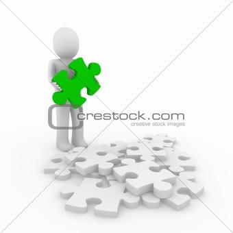 3d human green puzzle