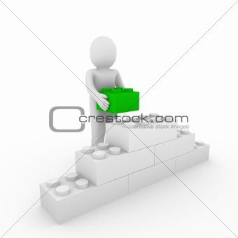 3d human green cube stone