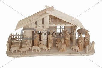 Nativity Scene made of wood, isolated