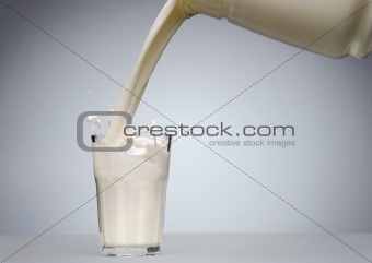 Pouring a glass of milk with splash