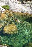 great natural pool with woman