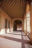 portico at public Spain Square in Seville