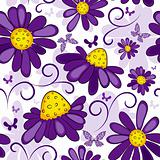 Floral seamless white-violet pattern