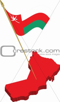 oman 3d map and waving flag