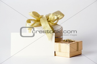 Clean card  and Two boxes with ribbon