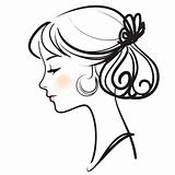 Young spanish flamenco dancer beautiful face vector illustration