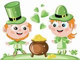 Leprechauns and gold pot