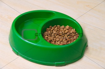 Green Pet Bowl With Biscuits