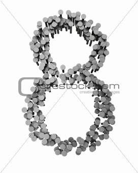 Alphabet made from hammered nails isolated, number 8