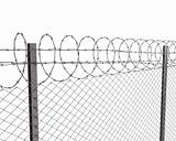 Chainlink fence with barbed wire on top 