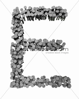 Alphabet made from hammered nails, letter E