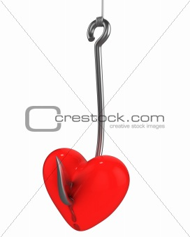 Red heart on a fishing hook