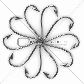 Abstract flower made from fishing hooks