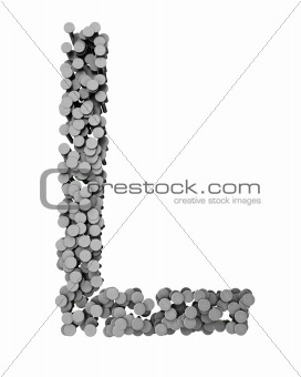 Alphabet made from hammered nails, letter L
