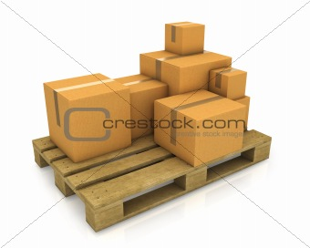 Stack of different sized carton boxes on wooden pallet