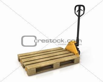 Pallet truck with empty pallet in perspective