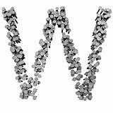 Alphabet made from hammered nails, letter W