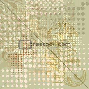 grunge background with floral elements and dots