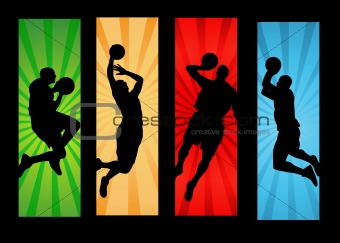 Basketball players illustration