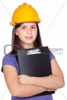 Adorable preteen girl with helmet